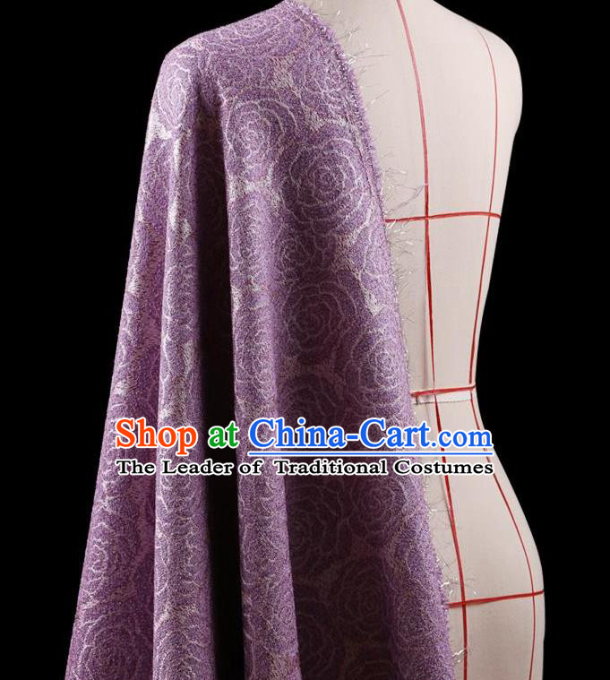 Traditional Asian Chinese Handmade Embroidery Rose Flower Jacquard Weave Coat Silk Tapestry Purple Fabric Drapery, Top Grade Nanjing Brocade Ancient Costume Cheongsam Cloth Material