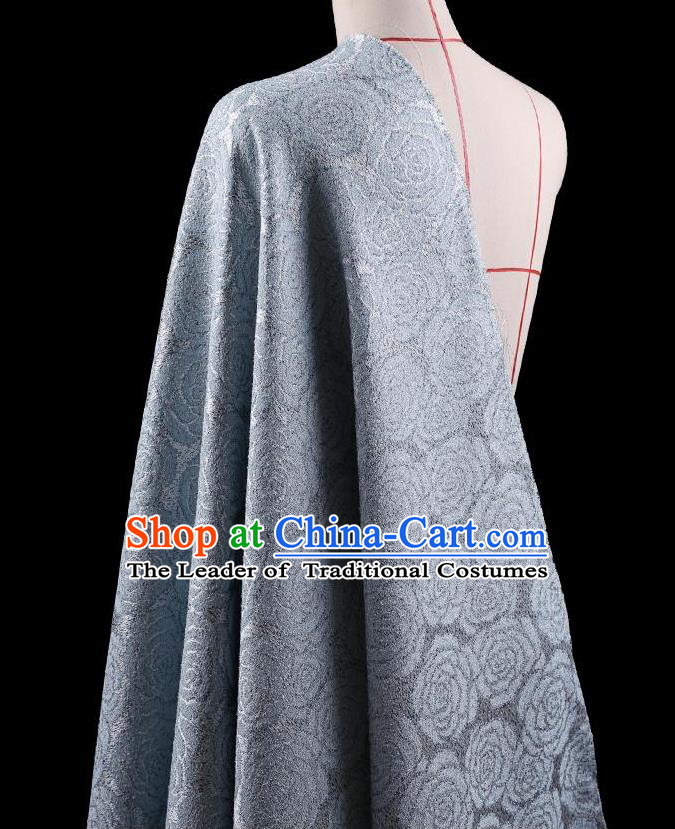 Traditional Asian Chinese Handmade Embroidery Rose Flower Jacquard Weave Coat Silk Tapestry Blue Fabric Drapery, Top Grade Nanjing Brocade Ancient Costume Cheongsam Cloth Material