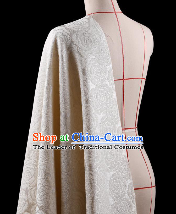 Traditional Asian Chinese Handmade Embroidery Rose Flower Jacquard Weave Coat Silk Tapestry White Fabric Drapery, Top Grade Nanjing Brocade Ancient Costume Cheongsam Cloth Material