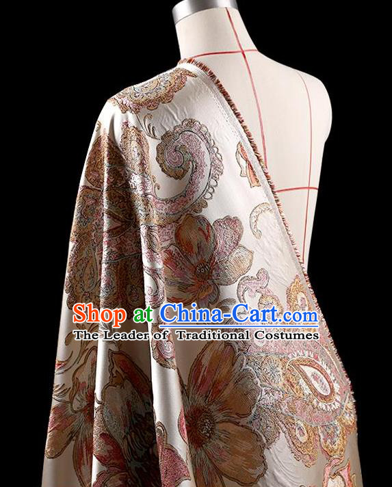 Traditional Asian Chinese Handmade Embroidery Flower Jacquard Weave Coat Silk Tapestry Fabric Drapery, Top Grade Nanjing Brocade Ancient Costume Cheongsam Cloth Material