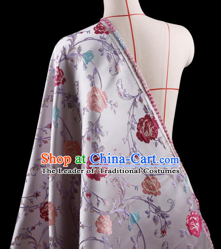 Traditional Asian Chinese Handmade Embroidery Flower Jacquard Weave Coat Lilac Silk Satin Fabric Drapery, Top Grade Nanjing Brocade Ancient Costume Cheongsam Cloth Material