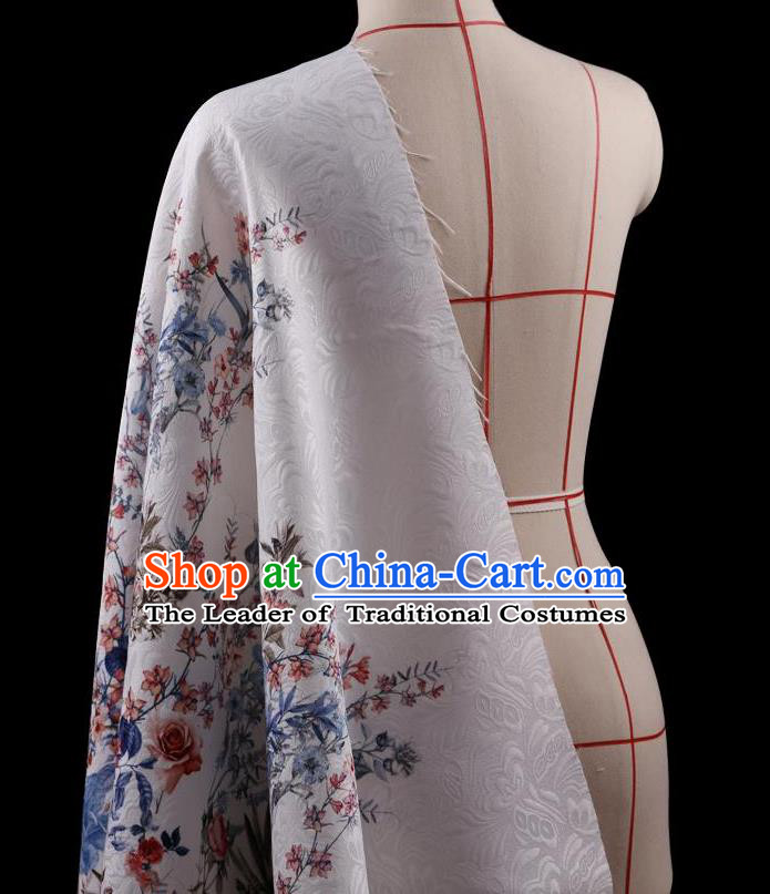Traditional Asian Chinese Handmade Printing Flower Jacquard Weave Dress White Silk Satin Fabric Drapery, Top Grade Nanjing Brocade Ancient Costume Cheongsam Cloth Material