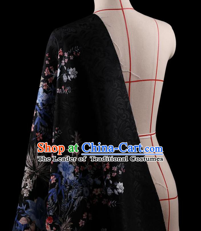 Traditional Asian Chinese Handmade Printing Flower Jacquard Weave Dress Black Silk Satin Fabric Drapery, Top Grade Nanjing Brocade Ancient Costume Cheongsam Cloth Material