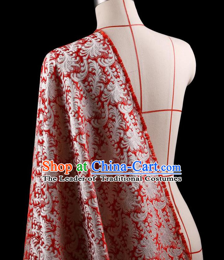 Traditional Asian Chinese Handmade Embroidery Jacquard Weave Tapestry Coat Fabric Drapery, Top Grade Nanjing Brocade Red Cloth Material