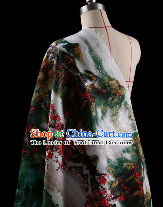 Traditional Asian Chinese Handmade Printing Landscape Dress Silk Satin Fabric Drapery, Top Grade Nanjing Brocade Ancient Costume Cheongsam Cloth Material