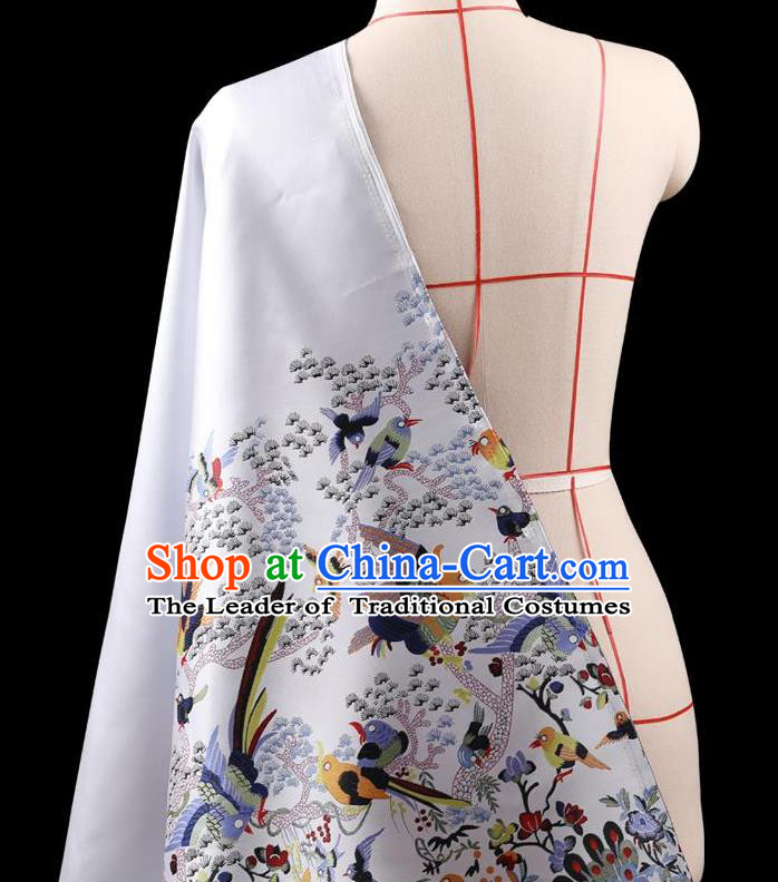 Traditional Asian Chinese Handmade Embroidery Dress Silk Satin White Fabric Drapery, Top Grade Nanjing Brocade Ancient Costume Cheongsam Cloth Material