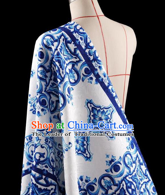 Traditional Asian Chinese Handmade Printing Blue and White Porcelain Dress Silk Satin Fabric Drapery, Top Grade Nanjing Brocade Ancient Costume Cheongsam Cloth Material
