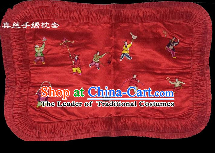 Traditional Asian Chinese Handmade Embroidery Silk Red Pillowslip, Top Grade Nanjing Brocade Pillow Cover