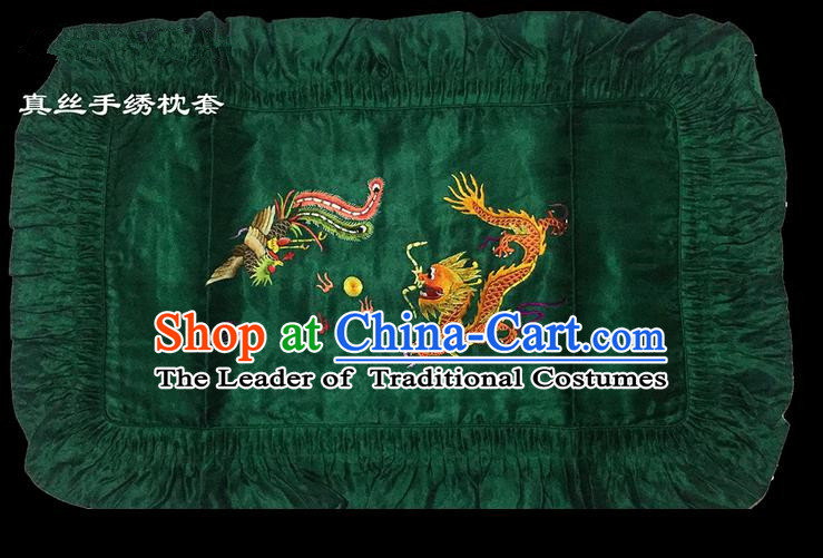 Traditional Asian Chinese Handmade Embroidery Dragon and Phoenix Silk Green Pillowslip, Top Grade Nanjing Brocade Pillow Cover