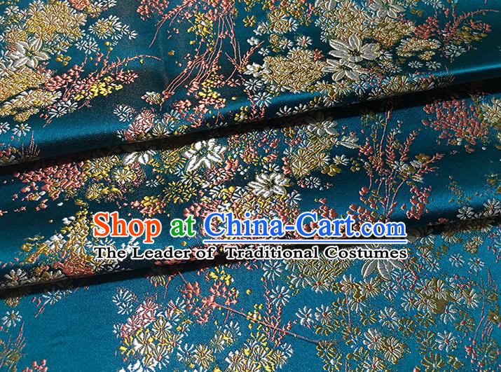 Traditional Asian Chinese Handmade Embroidery Oriental Cherry Silk Satin Tang Suit Blue Fabric Drapery, Nanjing Brocade Ancient Costume Hanfu Cheongsam Cloth Material