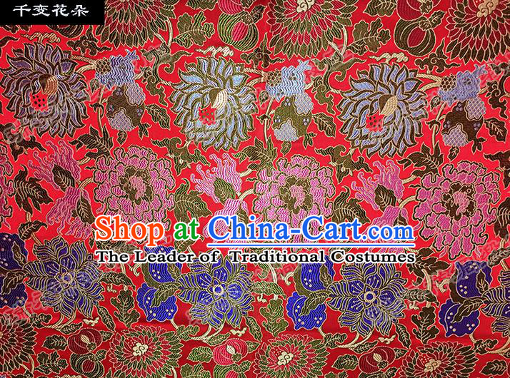 Traditional Asian Chinese Handmade Embroidery Flowers Silk Satin Tang Suit Red Fabric Drapery, Nanjing Brocade Ancient Costume Hanfu Cheongsam Cloth Material