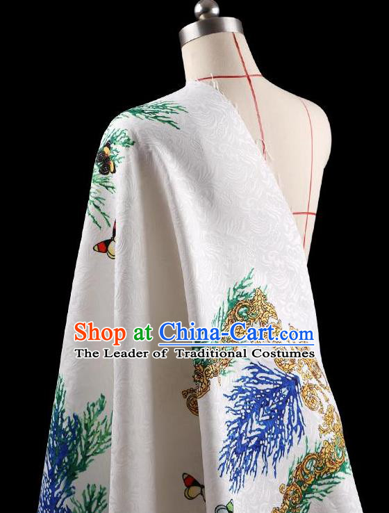 Traditional Asian Chinese Handmade Printing Peacock Dress Silk Satin Fabric Drapery, Top Grade Nanjing Brocade Ancient Costume Cheongsam Cloth Material