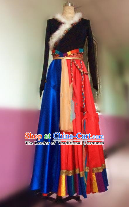 Traditional Chinese Zang Nationality Dance Dress, Mongols Female Folk Dance Ethnic Pleated Skirt, Chinese Tibetan Minority Nationality Embroidery Costume for Women