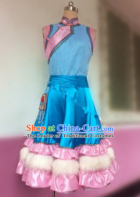Traditional Ancient Chinese National Folk Dance Embroidery Costume, Elegant Hanfu China Classical Dance Blue Dress Clothing for Women
