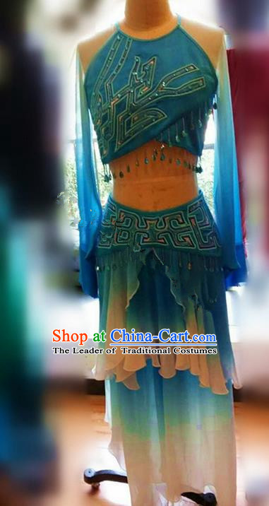 Traditional Ancient Chinese National Folk Dance Costume, Elegant Hanfu China Classical Dance Blue Dress Clothing for Women