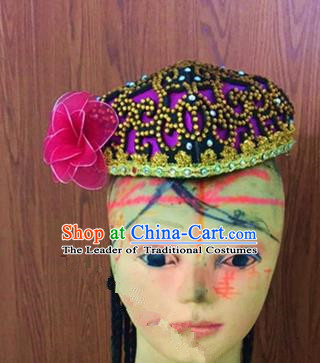 Traditional Chinese Uyghur Nationality Dance Rosy Hat, Folk Dance Ethnic Chinese Minority Nationality Uigurian Dance Headwear for Women