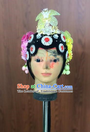 Traditional Chinese Beijing Opera Headdress, Ancient China Beijing Opera Dance Hair Accessories Flowers Step Shake Headwear for Women