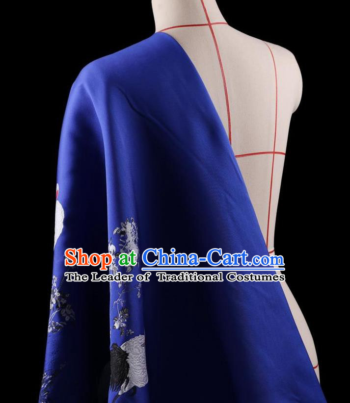 Traditional Asian Chinese Handmade Printing Cranes Dress Silk Satin Blue Fabric Drapery, Top Grade Nanjing Brocade Ancient Costume Cheongsam Cloth Material