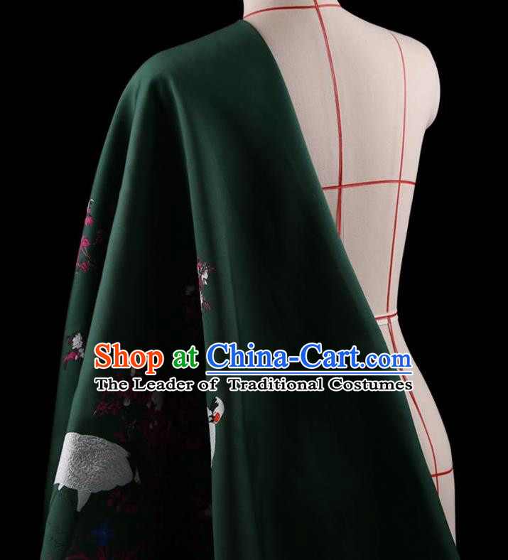 Traditional Asian Chinese Handmade Printing Cranes Dress Silk Satin Green Fabric Drapery, Top Grade Nanjing Brocade Ancient Costume Cheongsam Cloth Material