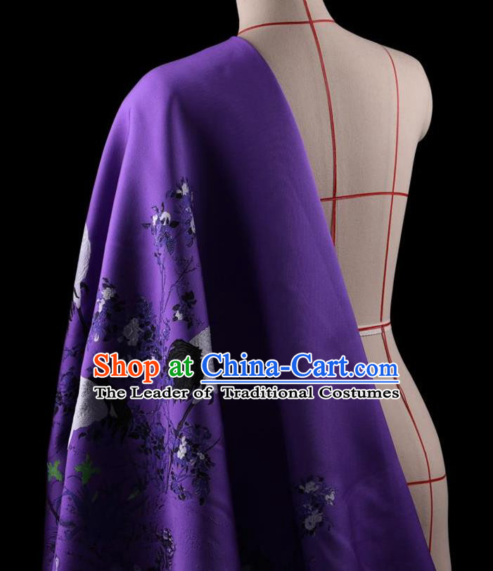 Traditional Asian Chinese Handmade Printing Cranes Dress Silk Satin Purple Fabric Drapery, Top Grade Nanjing Brocade Ancient Costume Cheongsam Cloth Material
