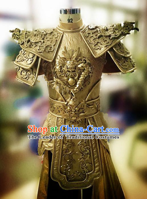 Traditional Ancient Chinese National Folk Dance Armour Uniform, China Warrior Helmet Clothing for Men