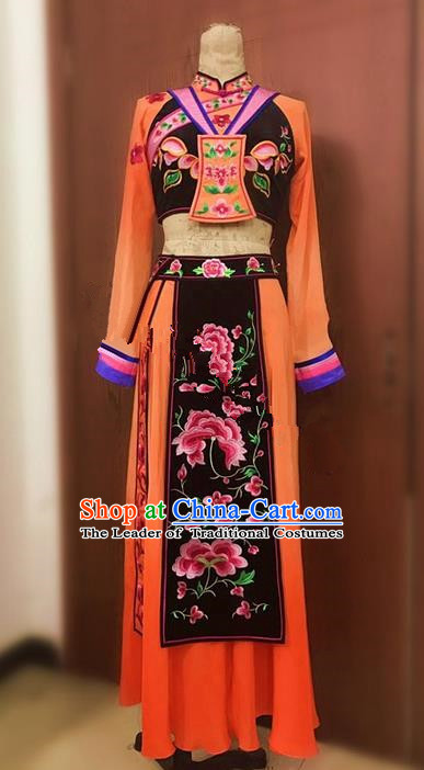Traditional Chinese Miao Nationality Dance Dress, Hmong Chinese Minority Nationality Embroidery Costume for Women