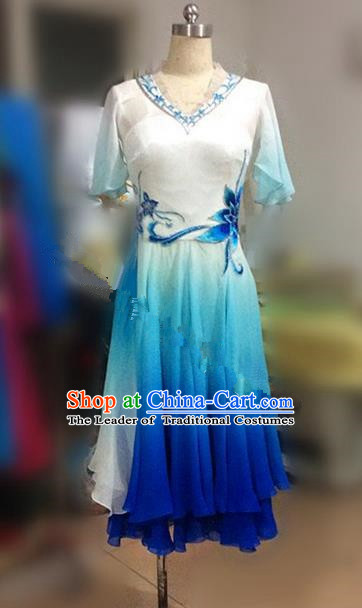 Traditional Ancient Chinese National Folk Yanko Dance Dress, Elegant Hanfu China Classical Dance Dress Blue Clothing for Women