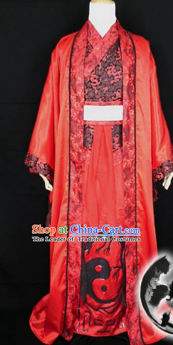 Asian Chinese Traditional Han Dynasty Wedding Costume, China Elegant Hanfu Bride Embroidery Red Dress for Women