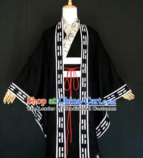 Asian Chinese Traditional Cospaly Zhuge Liang Costume, China Elegant Hanfu Swordsman Black Robe for Men