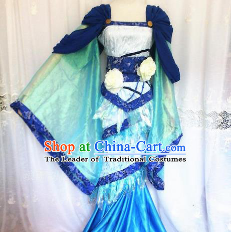 Asian Chinese Traditional Cospaly Han Dynasty Princess Costume, China Elegant Hanfu Fairy Blue Dress for Women