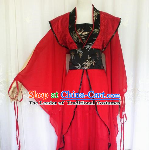 Asian Chinese Traditional Cospaly Han Dynasty Princess Costume, China Elegant Hanfu Fairy Red Dress for Women