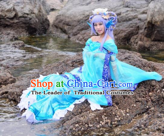 Asian Chinese Traditional Cospaly Tang Dynasty Dragon Lady Princess Costume, China Elegant Hanfu Peri Dress Clothing for Women