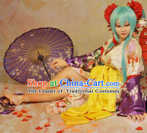 Asian Chinese Traditional Cospaly Tang Dynasty Young Lady Costume and Wigs, China Elegant Hanfu Princess Dress for Women