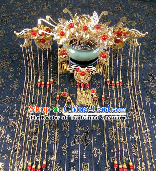 Traditional Handmade Chinese Ancient Classical Hair Accessories Barrettes Hairpin, Phoenix Coronet Hair Jewellery, Hair Fascinators Hairpins for Women
