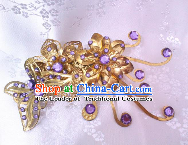Traditional Handmade Chinese Ancient Classical Hair Accessories Purple Crystal Hairpin, Step Shake Hair Stick, Hair Fascinators Hairpins for Women