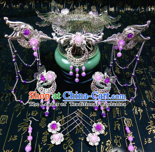 Traditional Handmade Chinese Ancient Classical Hair Accessories Complete Set, Phoenix Coronet Step Shake Tassel Hair Stick, Hair Fascinators Hairpins for Women