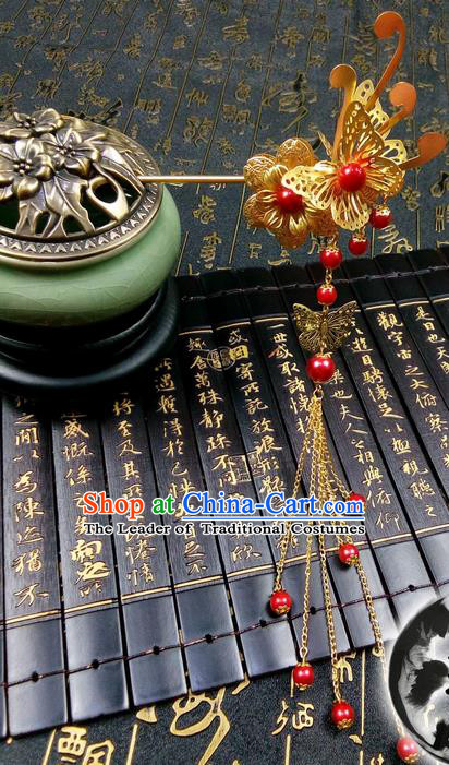 Traditional Handmade Chinese Ancient Classical Hair Accessories, Butterfly Step Shake Golden Hair Stick, Hair Fascinators Hairpins for Women