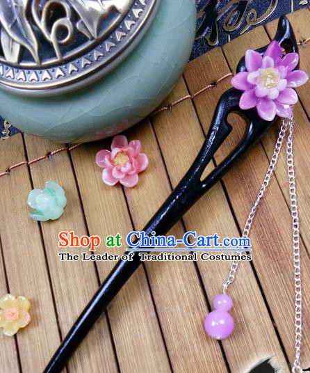 Traditional Handmade Chinese Ancient Classical Hair Accessories Peach Wood Hairpins, Purple Flower Tassel Step Shake Hair Stick Hair Fascinators for Women