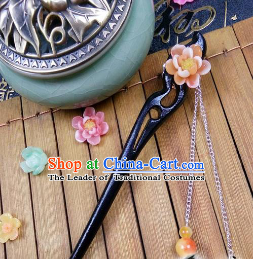 Traditional Handmade Chinese Ancient Classical Hair Accessories Peach Wood Hairpins, Orange Flower Tassel Step Shake Hair Stick Hair Fascinators for Women