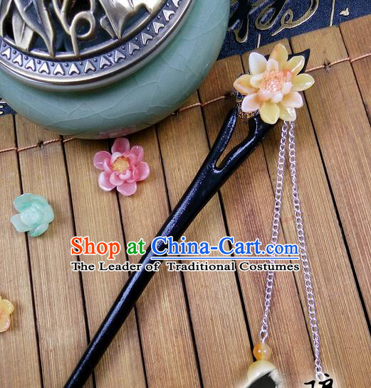 Traditional Handmade Chinese Ancient Classical Hair Accessories Peach Wood Hairpins, Yellow Flower Tassel Step Shake Hair Stick Hair Fascinators for Women