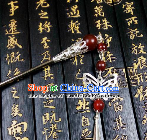 Traditional Handmade Chinese Ancient Classical Red Bead Hair Accessories, Step Shake Hair Sticks, Hair Fascinators Butterfly Hairpins for Women
