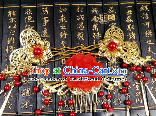 Traditional Handmade Chinese Ancient Classical Butterfly Hair Accessories Complete Set, Step Shake Hair Sticks, Hair Fascinators Golden Hairpins for Women