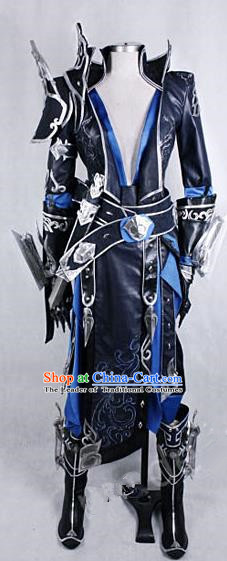 Asian Chinese Traditional Cospaly Customization Ming Dynasty Warrior Armour Costume, China Elegant Hanfu Knight-errant Clothing for Men
