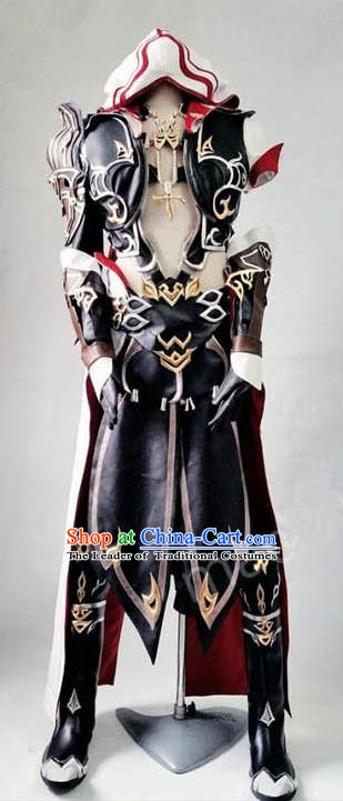 Asian Chinese Traditional Cospaly Costume Customization Ming Dynasty Knight-errant Embroidered Costume, China Elegant Hanfu Female General Clothing for Women