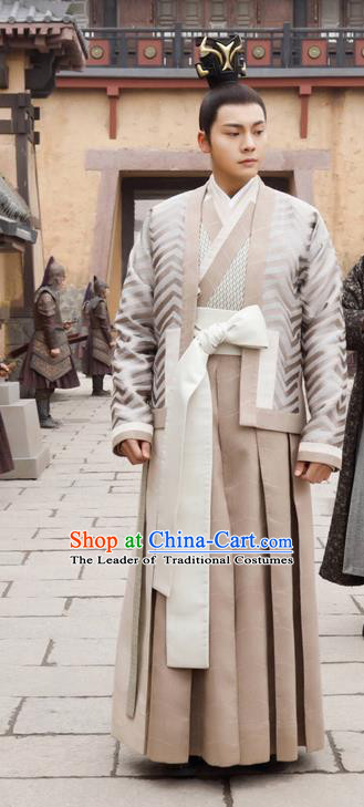 Asian Chinese Traditional Ancient Emperor Everyday Costume, Lost Love In Times China Northern and Southern Dynasties King Robe Clothing