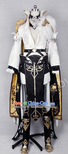 Asian Chinese Traditional Cospaly Costume Customization Swordswoman Costume, China Elegant Hanfu Heroine Golden Dress Clothing for Women
