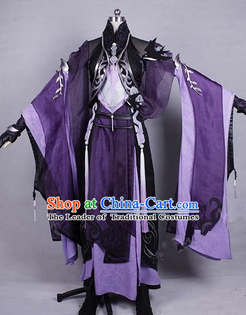 Asian Chinese Traditional Cospaly Costume Customization Zoroastrianism Witch Costume Complete Set, China Elegant Hanfu Swordswoman Purple Dress Clothing for Women