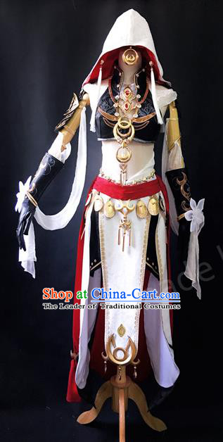 Asian Chinese Traditional Cospaly Costume Customization Ancient Zoroastrianism Young Lady Costume and Headpiece Complete Set, China Elegant Hanfu Princess Dress Clothing for Women