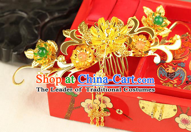 Chinese Ancient Style Hair Jewelry Accessories Wedding Hair Comb, Hanfu Xiuhe Suits Step Shake Bride Handmade Hairpins for Women