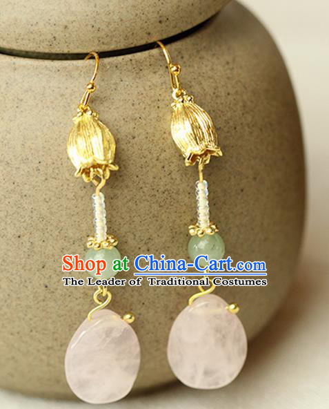 Chinese Ancient Style Hair Jewelry Accessories Wedding Imperial Consort Pink Jade Earrings, Hanfu Xiuhe Suits Bride Handmade Eardrop for Women